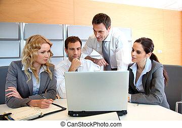 computador laptop, reunião, escritório, negócio