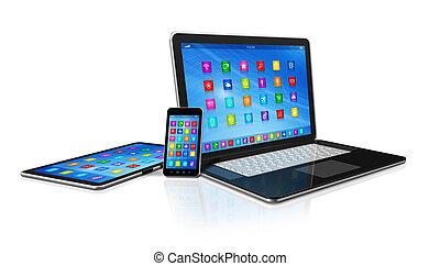 computador laptop, smartphone, tabuleta, digital