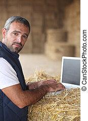 computador laptop, trabalhando, agricultor