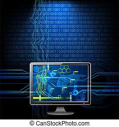 computador, ligado, binário, fundo