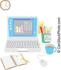 computador, ligado, escritório, escrivaninha