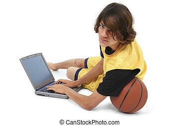 computador, menino adolescente