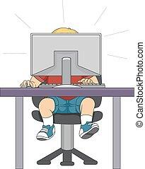 computador, menino