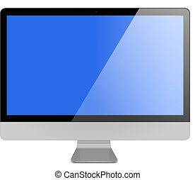 computador, metálico, plano-tela