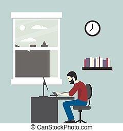 computador, negócio, sentando, escritório., ilustração, vetorial, homem