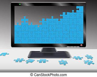 computador, ou, hdtv, monitor, quebra-cabeça