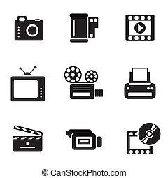 computador, photo-video, ícones