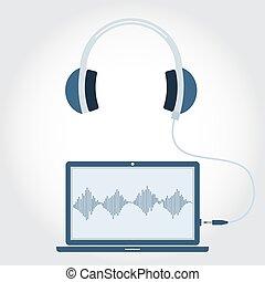 computador portatil, auricular