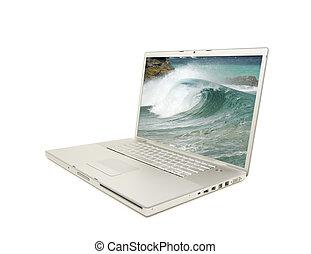 computador portatil, blanco, aislado