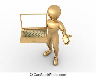 computador portatil, blanco, aislado, plano de fondo, hombre