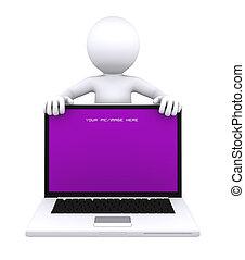 computador portatil, carácter, pantalla, actuación, vacío, 3d
