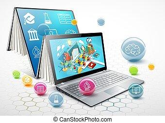 computador portatil, como, un, book., el, concepto, de, learning., en línea, education., vector, ilustración