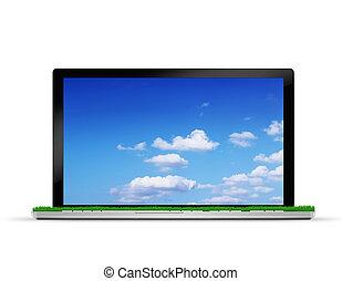 computador portatil, con, campo de la hierba, y, cielo