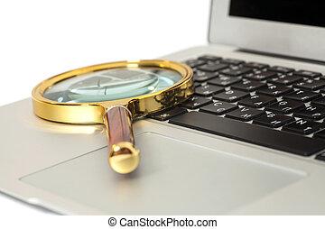 computador portatil, con, lupa