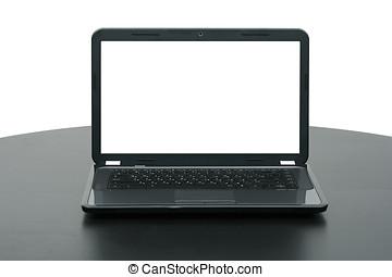 computador portatil, con, pantalla en blanco, en, tabla de madera