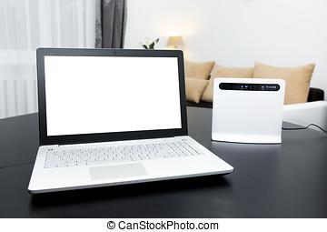computador portatil, con, pantalla en blanco, y, internet inalámbrica, rúter, sobre la mesa