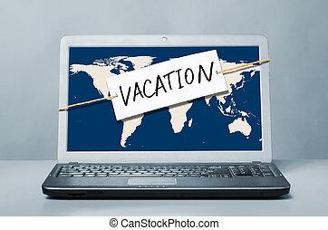 computador portatil, con, vacaciones, nota