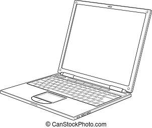 computador portatil, contorno, vector, ilustración