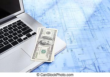 computador portatil, dinero, y, cianotipo