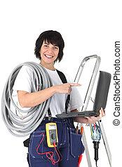 computador portatil, electricista, voltímetro, hembra