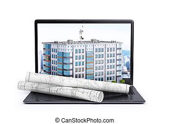 computador portatil, en, cuál, es, localizado, un, edificio...