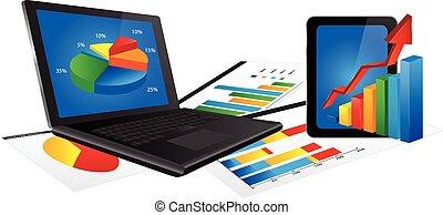 computador portatil, estadística, gráfico, tableta
