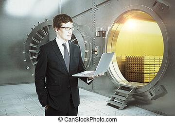 computador portatil, hombre de negocios