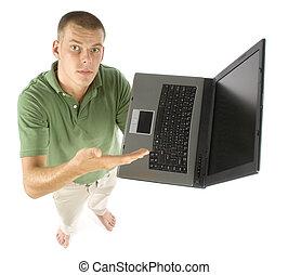 computador portatil, hombre