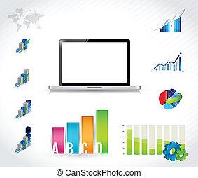 computador portatil, infographic, tecnología, gráfico, ilustración