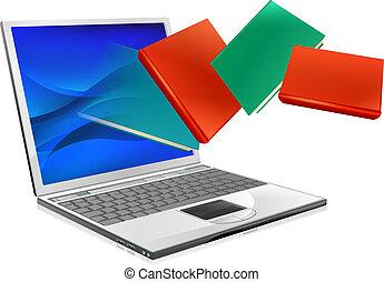 computador portatil, libros, educación, o, ebook, concepto