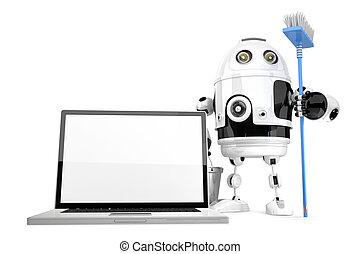 computador portatil, limpieza, concept., robot, limpieza, computador portatil, con, un, mop., isolated., contiene, recorte, path.