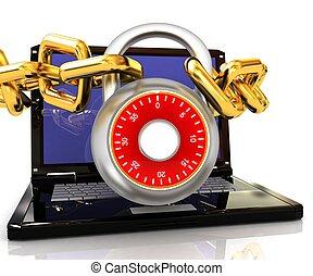 computador portatil, lock.3d, cadenas, ilustración