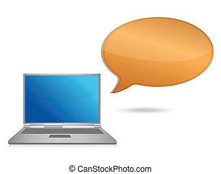 computador portatil, mensaje, burbuja