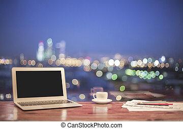 computador portatil, noche, ciudad, plano de fondo