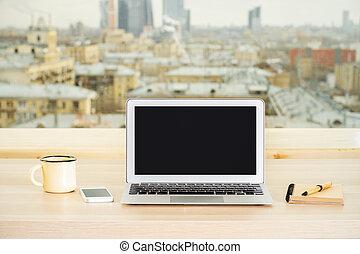 computador portatil, oficina, vacío, escritorio