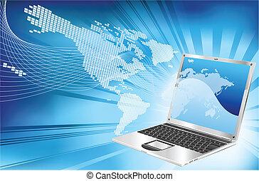 computador portatil, palabra, mapa, empresa / negocio, plano de fondo
