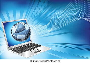 computador portatil, palabra, mapa, globo, empresa / negocio, plano de fondo