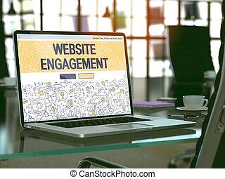 computador portatil, pantalla, con, sitio web, compromiso,...