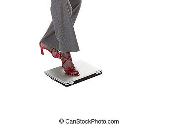 computador portatil, piedra que da paso