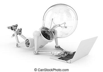 computador portatil, robot, trabajando, lámpara