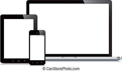 computador portatil, smartphone, y, tableta, mockup, fondo...