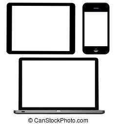computador portatil, tableta de digital, y, teléfono, con, blanco, pantallas