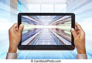 computador portatil, tecnologías, de, futuro