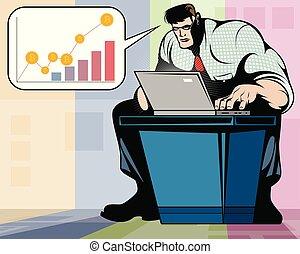 computador portatil, trabajando, hombre