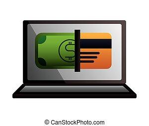 computador portatil, transacción, tarjeta bancaria