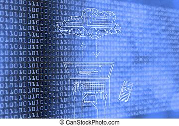 computador portatil, transferir, datos, a, un, circuito electrónico, nube