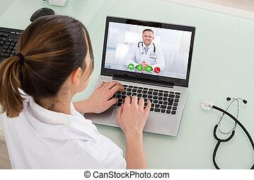 computador portatil, vídeo, hembra, charlar, doctor