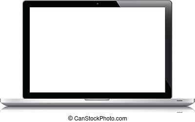 computador portatil, vector, aislado, blanco, eps