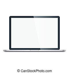 computador portatil, vector, aislado, plano de fondo, blanco