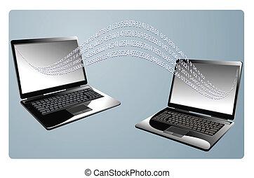 computador portatil, vector, empresa / negocio, plano de fondo, computadoras